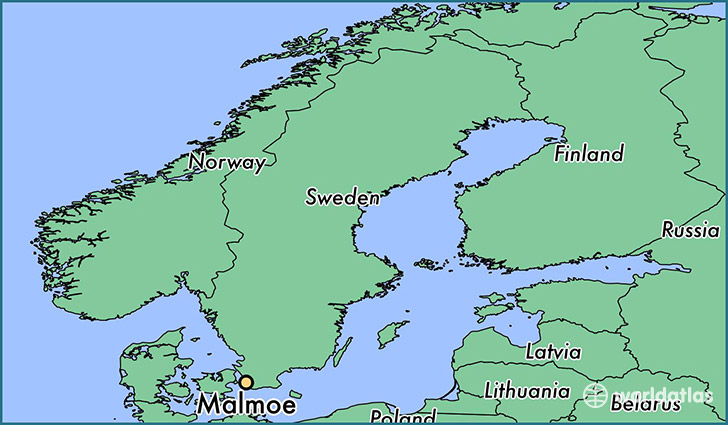 map showing the location of Malmoe