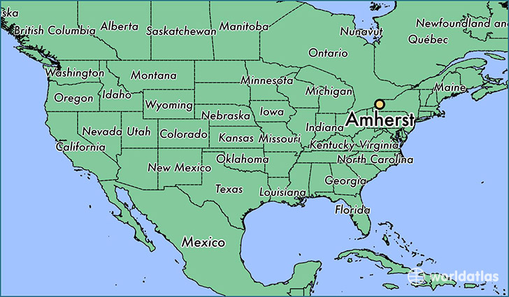 map showing the location of amherst