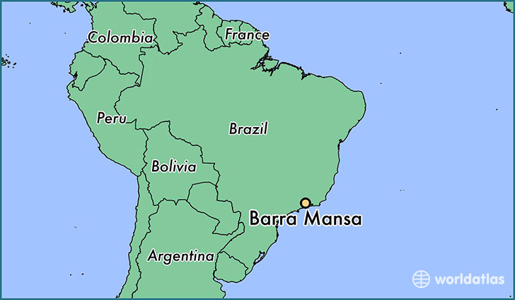 map showing the location of Barra Mansa