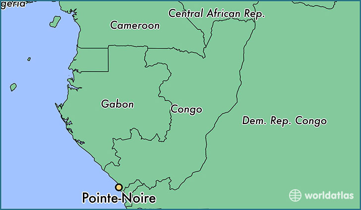 map showing the location of Pointe-Noire