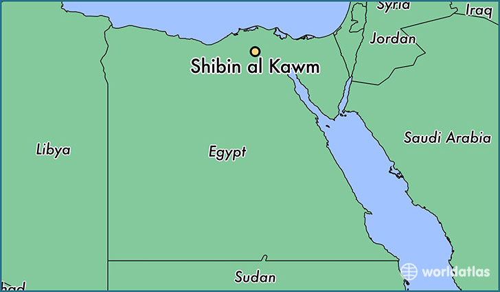 map showing the location of Shibin al Kawm