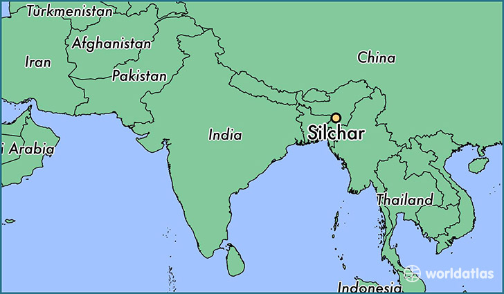 map showing the location of Silchar
