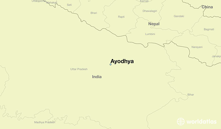 map showing the location of Ayodhya