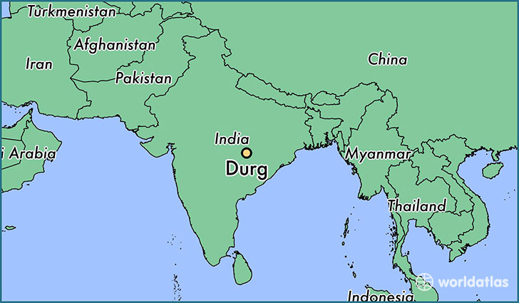 map showing the location of Durg