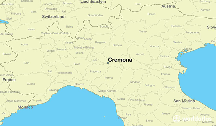 map showing the location of Cremona