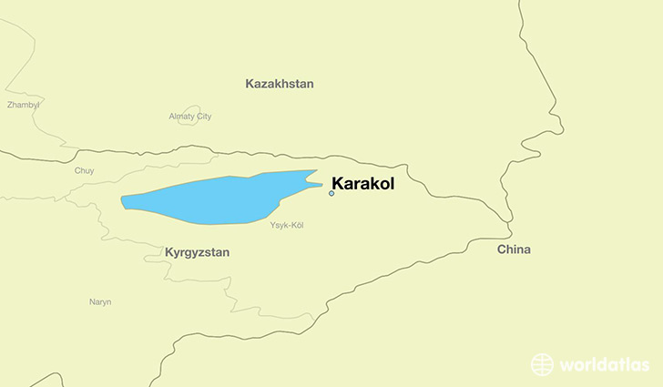 map showing the location of Karakol