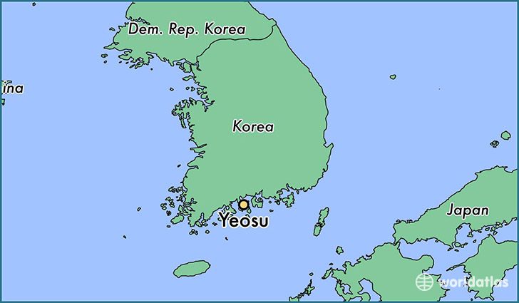 map showing the location of Yeosu