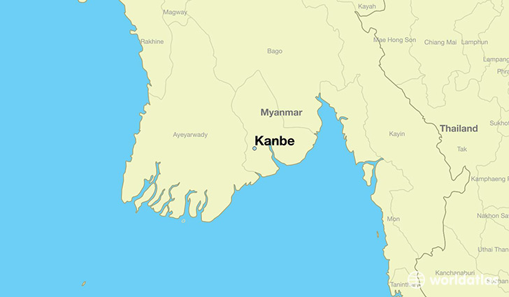 map showing the location of Kanbe