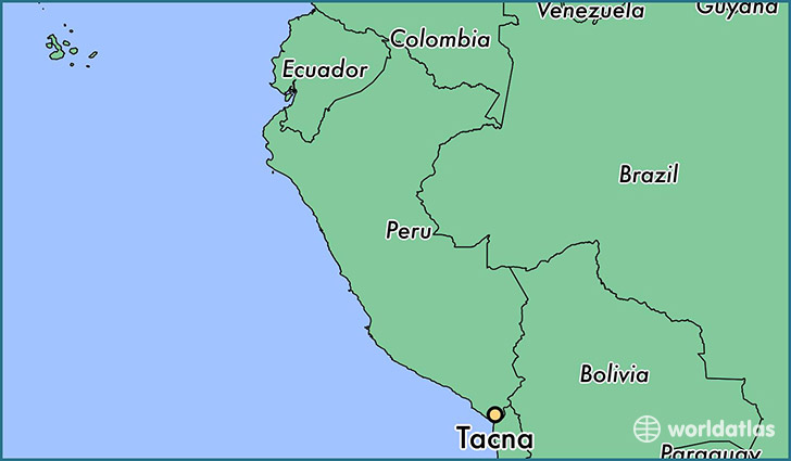 map showing the location of Tacna