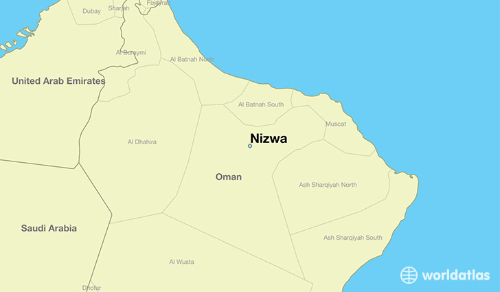 map showing the location of Nizwa