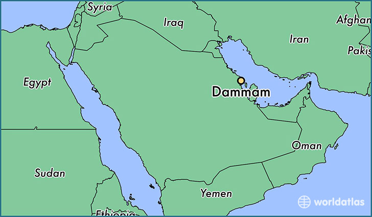 map showing the location of Dammam