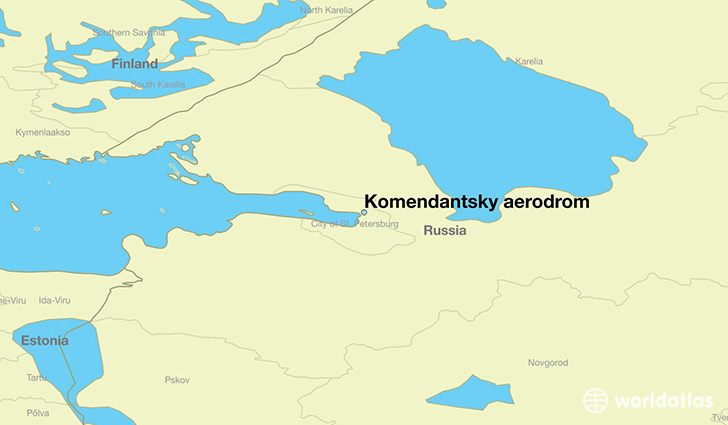 map showing the location of Komendantsky aerodrom