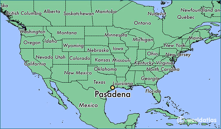 map showing the location of Pasadena
