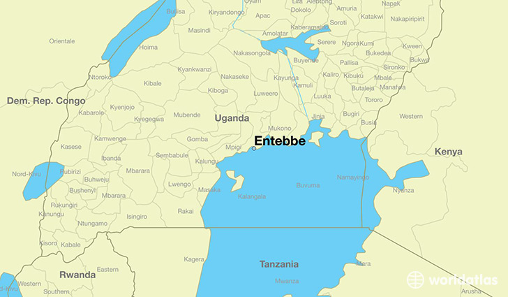 map showing the location of Entebbe