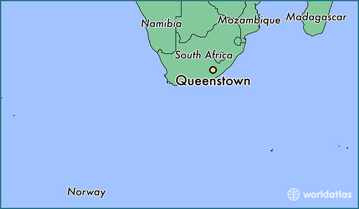 map showing the location of Queenstown
