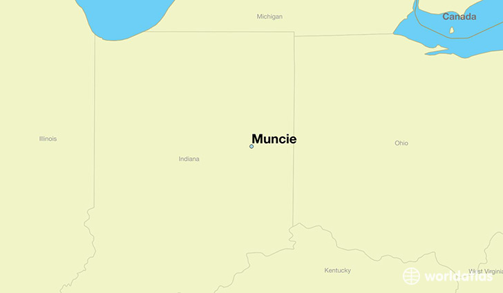 map showing the location of Muncie