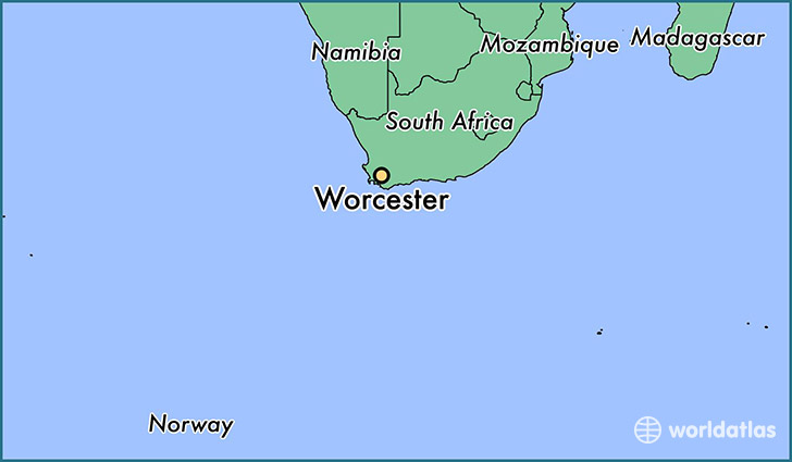 map showing the location of Worcester