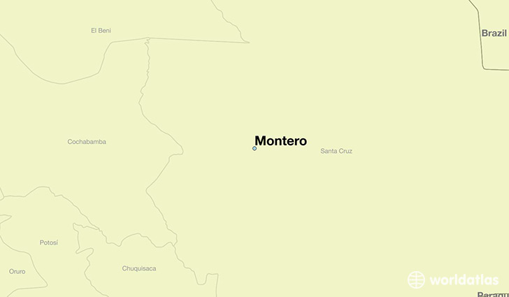 map showing the location of Montero