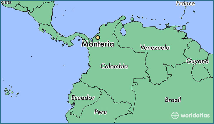 map showing the location of Monteria