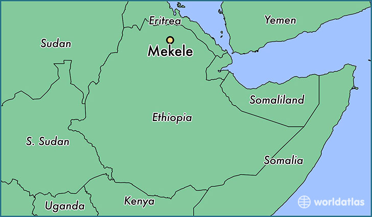 map showing the location of Mekele