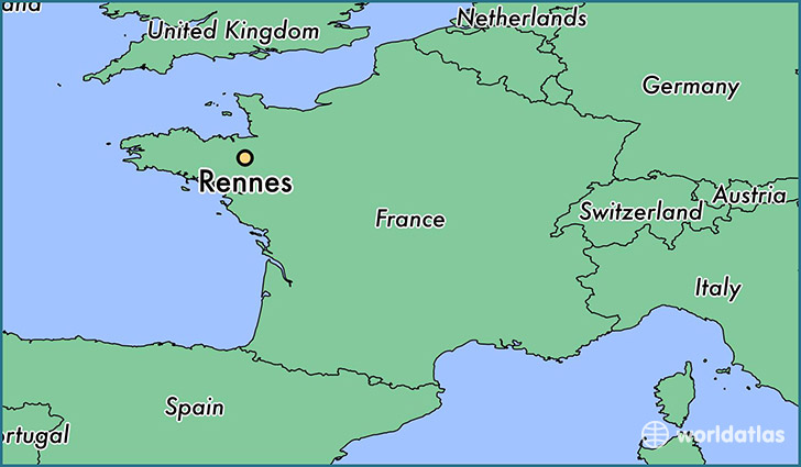 map showing the location of Rennes