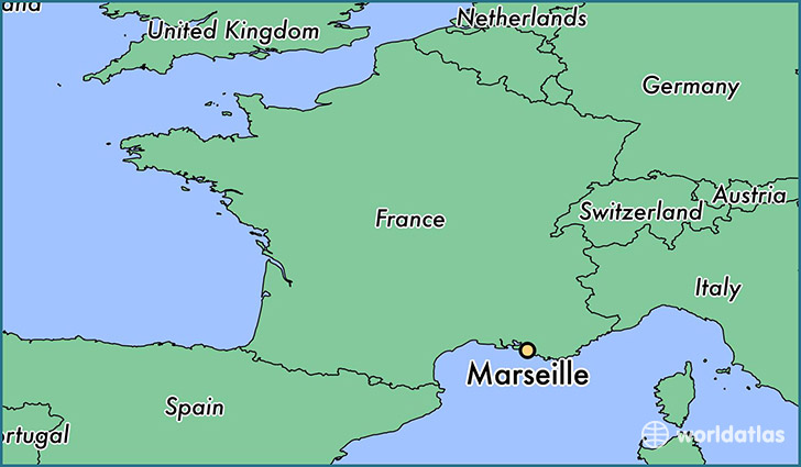 map showing the location of Marseille
