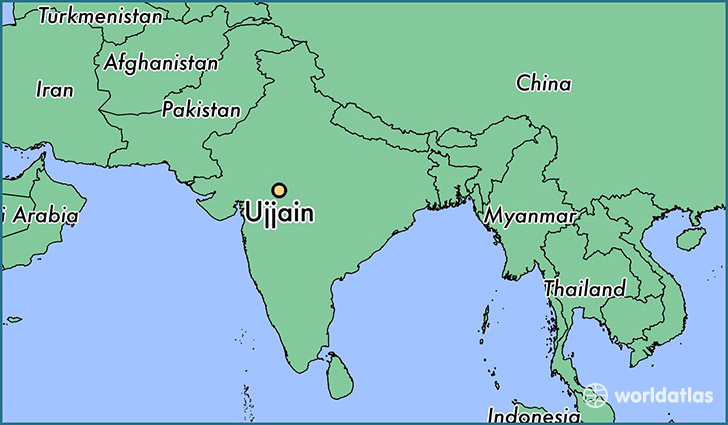 map showing the location of Ujjain