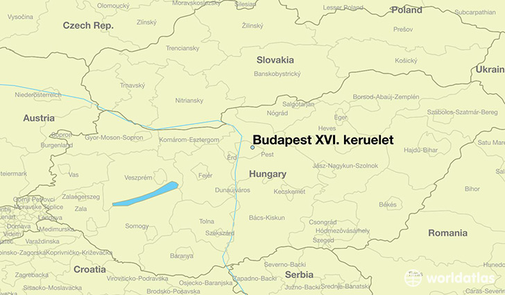 map showing the location of Budapest XVI. keruelet