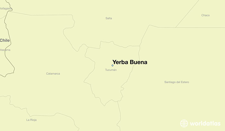 map showing the location of Yerba Buena