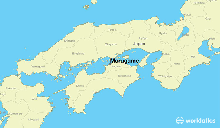 map showing the location of Marugame