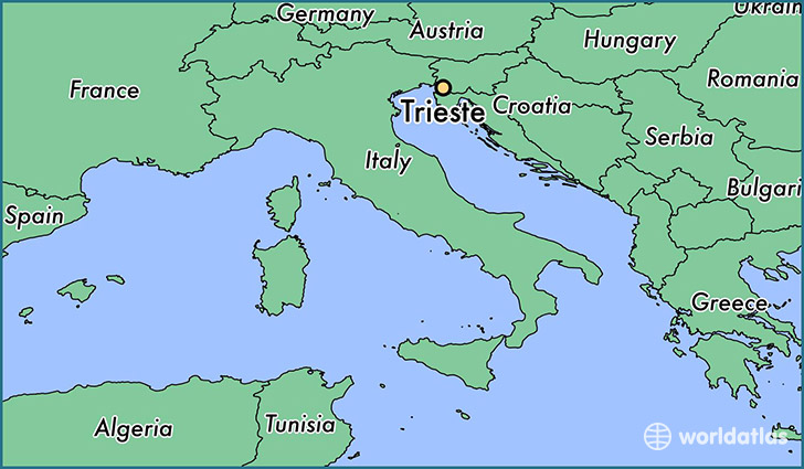 map showing the location of Trieste