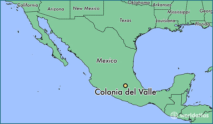 map showing the location of Colonia del Valle