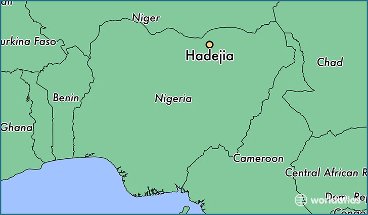 map showing the location of Hadejia