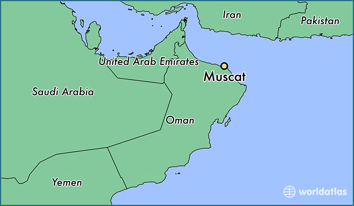 Where is Muscat Oman Muscat Muhafazat Masqat Map WorldAtlascom
