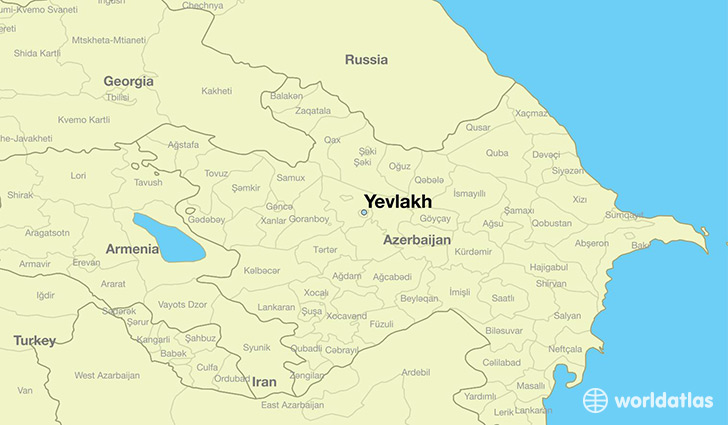 map showing the location of Yevlakh