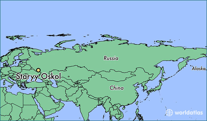 map showing the location of Staryy Oskol