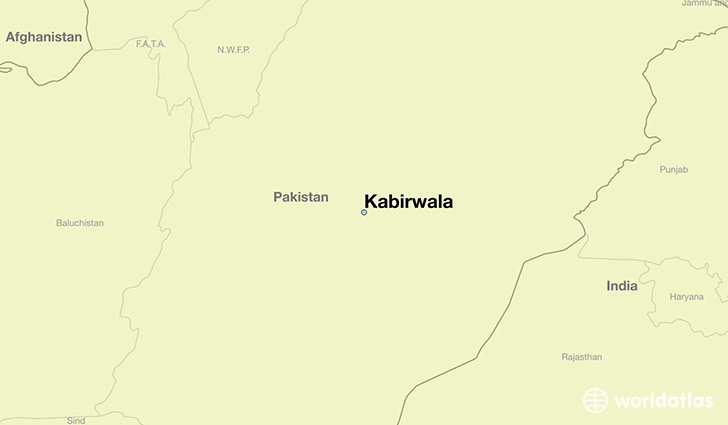 map showing the location of Kabirwala