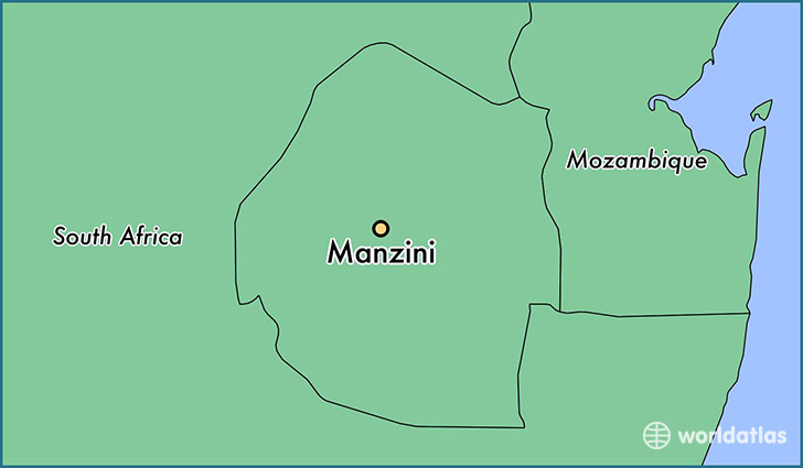 map showing the location of Manzini