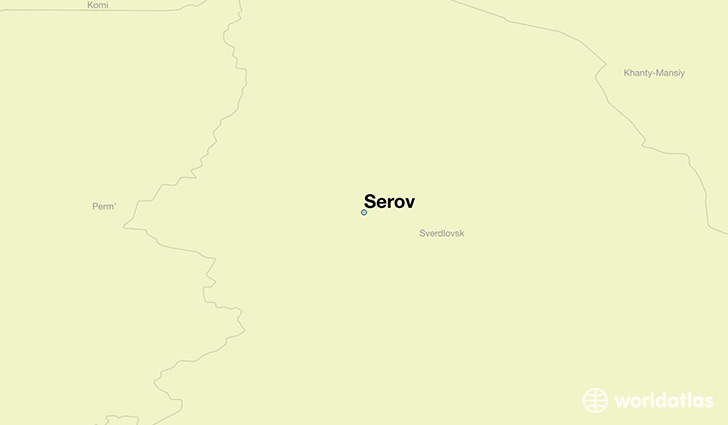 map showing the location of Serov