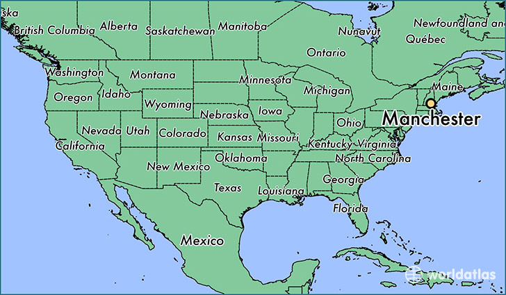 New Hampshire On Map Of Usa.Where Is Manchester Nh Manchester New Hampshire Map
