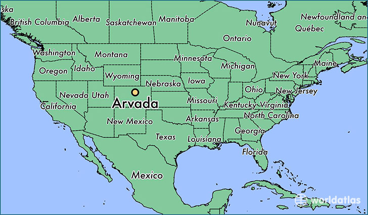 map showing the location of Arvada