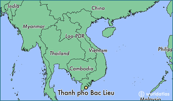 map showing the location of Thanh pho Bac Lieu