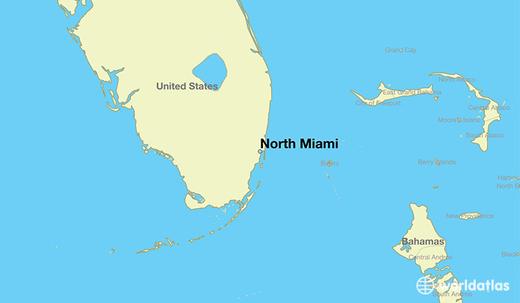 map showing the location of North Miami