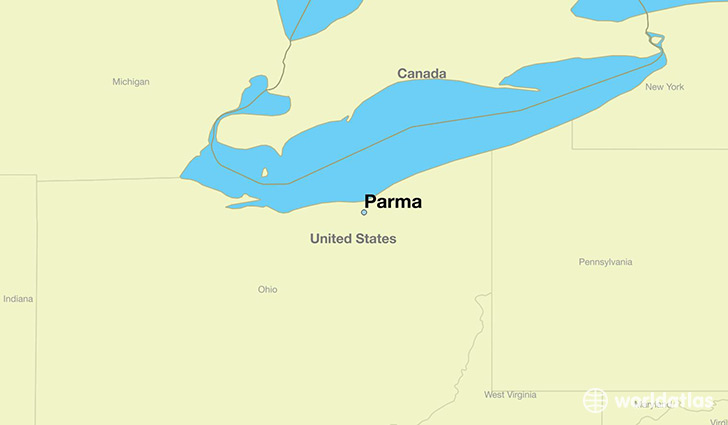 map showing the location of Parma