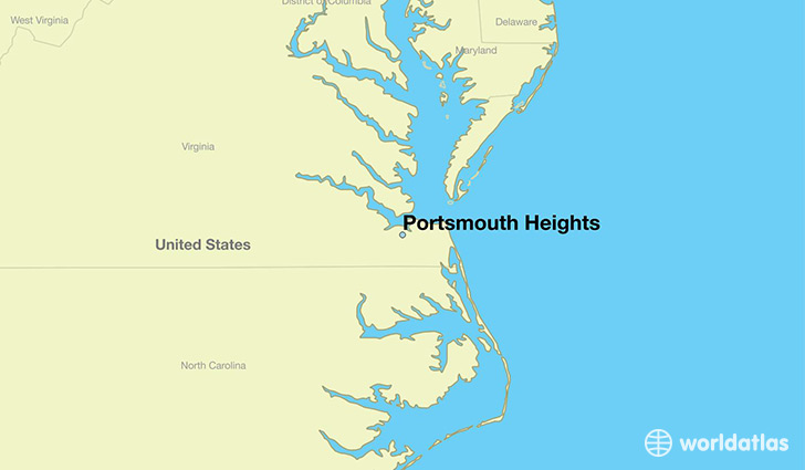 map showing the location of Portsmouth Heights