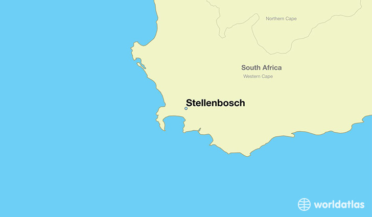 map showing the location of Stellenbosch