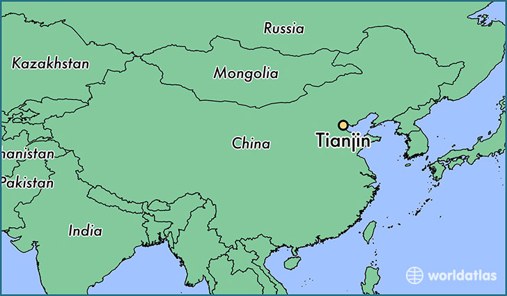 map showing the location of Tianjin