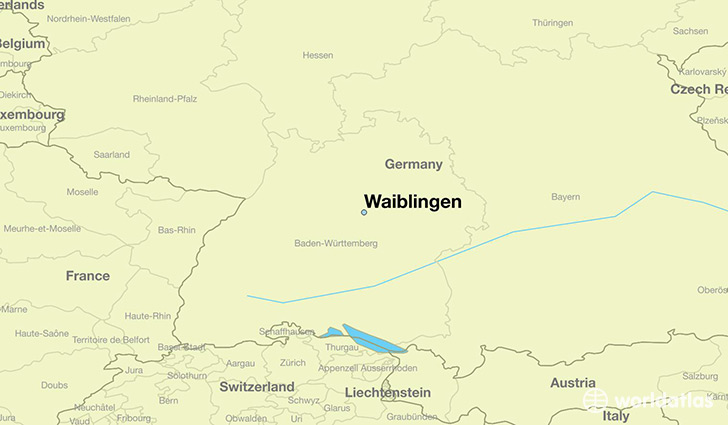 map showing the location of Waiblingen