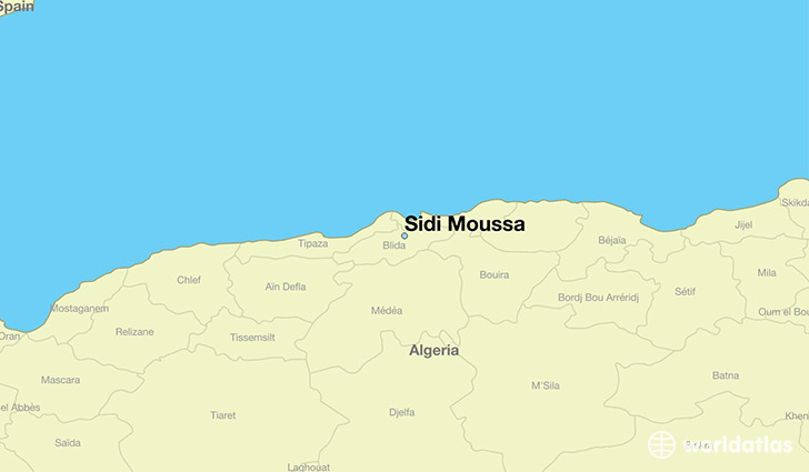 map showing the location of Sidi Moussa