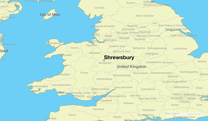 Where is Shrewsbury England Shrewsbury England Map WorldAtlascom